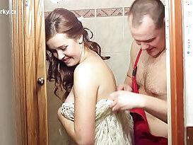 Crazy fucking myself with plumber before wedding