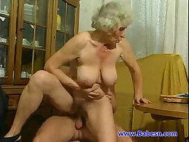 Granny each other with young guy