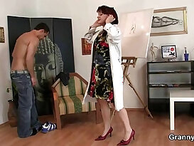 Horny mature lady jumps on hot cock