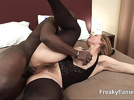 Big black monstercock for hairy milf gets her pussy being spermed on cum on pussy