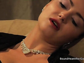 Mistress Masturbating her wet Pussy While Wathcing Young Slave