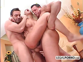 Two guys with cocks fuck horny lesbian babes HC