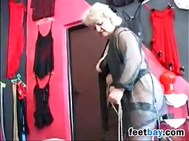 Granny Gets Feet Worshipped By A Slave