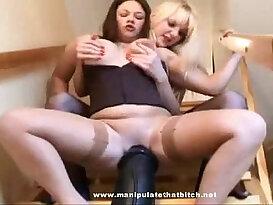 Lesbian Sits On Huge black Dildo