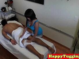 Real nuru masseuse tugs cock