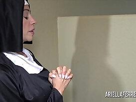 Sexy nun ariella ferrera sucking and swallowing cum
