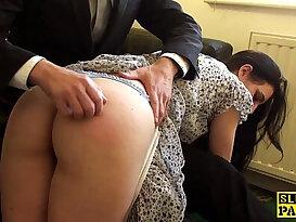 Spanked british sub riding the cock