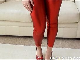 Keira teasing in high heels and red pvc panties