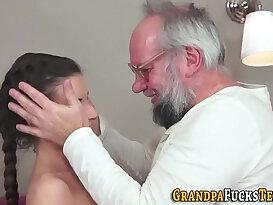 Petite slut sucks and fucks grandpa