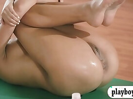 Hot women and trainer hot yoga session while naked