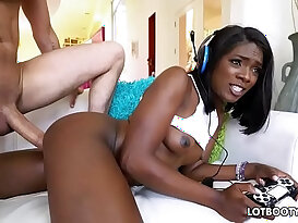 Ebony beautiful gamer Ana Foxxx gets cunt fucked by white dick
