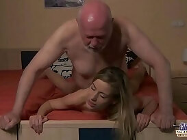 Young Secretary evaluation old man boss fucks her young ass girl