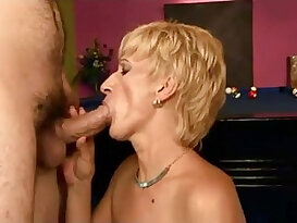 Hot granny double fucked on a pool table