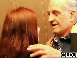 Young deep anal fucked by old horny man he fucks pussy and licks clit