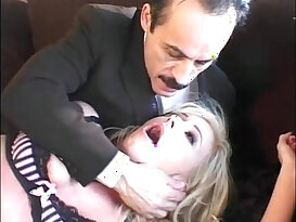 Secretary in sexy black lingerie groped and forced by her head office