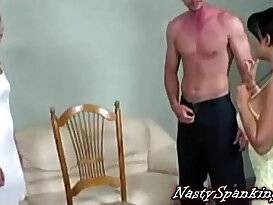 Guy spanked by two mean girls