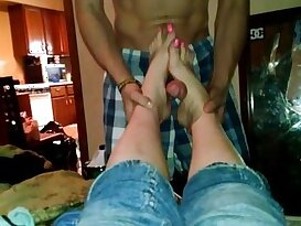 Annette baby mama footjob