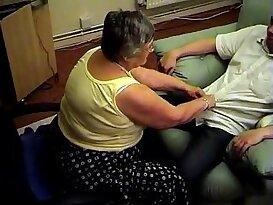 Grandma libby from gives pov blowjob and footjob