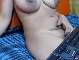 Desi aunty sitting in sofa and showing in skype