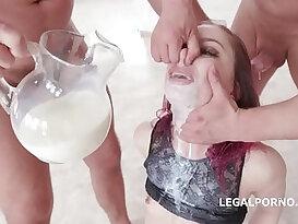Young Redhead Kira Roller Fantasy Deep Oral and Milk Gargling