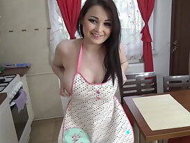 Shy housewife fun in the kitchen