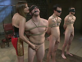 A group of ladies fucking guys with strapon