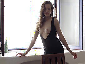 18 year old sweety Silvie Luca spreading on a table